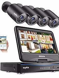 Недорогие -sannce® 4ch 1080p 4шт встроенный жк-видеорегистратор водонепроницаемая система видеонаблюдения монитор IP-камеры без HD