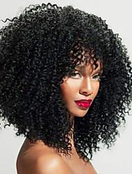 baratos -Cabelo Natural Remy Frente de Malha Peruca Cabelo Brasileiro Kinky Curly Peruca Parte do meio 150% 180% 250% Densidade do Cabelo Melhor qualidade Venda imperdível Grossa com Clip Natural Mulheres
