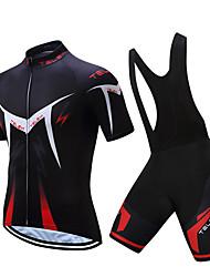 3e7209bea TELEYI Men s Short Sleeve Cycling Jersey with Bib Shorts - White Black Bike  Clothing Suit Breathable Quick Dry Sports Polyester Herringbone Mountain  Bike ...