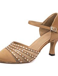 baratos -Mulheres Sapatos de Dança Moderna Cetim Salto / Têni Detalhes em Cristal / Purpurina Salto Alto Magro Personalizável Sapatos de Dança Marron