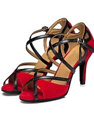 Недорогие -Жен. Обувь для латины Замша Сандалии Кубинский каблук Персонализируемая Танцевальная обувь Черный / Красный