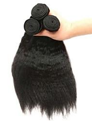 Недорогие -3 Связки Индийские волосы Вытянутые 8A Натуральные волосы Необработанные натуральные волосы Головные уборы Человека ткет Волосы Сувениры для чаепития 8-28 дюймовый Естественный цвет