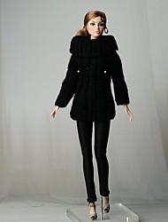 Недорогие -Отдельные органов / Брюки Кофты и свитера 2 pcs Для Кукла Барби Черный текстильный / Искусственная кожа / Искусственная шерсть Кофты / Брюки Для Девичий игрушки куклы