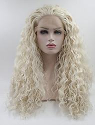 abordables -Perruque Lace Front Synthétique Bouclé Kardashian Style Partie libre Lace Frontale Perruque Blanc Blanc crème Cheveux Synthétiques 18-26 pouce Femme Ajustable / Dentelle / Résistant à la chaleur Blanc