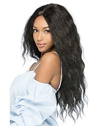 Недорогие -Синтетические кружевные передние парики Жен. Кудрявый Черный Средняя часть 150% Человека Плотность волос Искусственные волосы 24 дюймовый синтетический Черный Парик Длинные Лента спереди Черный