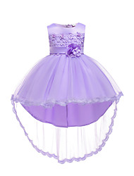 お買い得  -子供 / 幼児 女の子 活発的 / 甘い パーティー / 祝日 ソリッド ノースリーブ アシメントリー ドレス ホワイト