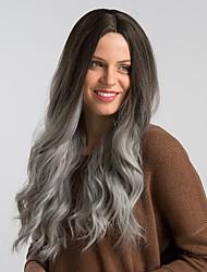 Недорогие -Парики из искусственных волос Кудрявый Блестящий завиток Стиль С чёлкой Без шапочки-основы Парик Черный / коричневый Черный / Белый Черный / серый Искусственные волосы 24 дюймовый Жен.