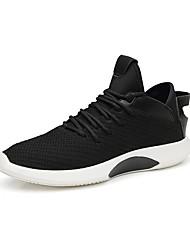 baratos -Homens Sapatos Confortáveis Tecido elástico Primavera & Outono Tênis Branco / Preto / Branco / Preto