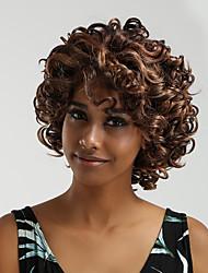 Недорогие -Парики из искусственных волос / Синтетические кружевные передние парики Жен. Блестящий завиток / Глубокий курчавый Темно-коричневый Ассиметричная стрижка 130% Человека Плотность волос / Лента спереди