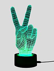 billige -3D nattlys Endring Usb Stress og angst relief / Fargeskiftende / Kreativ 5 V 3D