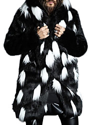 Недорогие -Муж. Повседневные Большие размеры Обычная Пальто с мехом, Контрастных цветов Капюшон Длинный рукав Искусственный мех Белый / Черный XXL / XXXL / 4XL