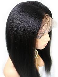 Недорогие -человеческие волосы Remy Полностью ленточные Парик Стрижка каскад стиль Бразильские волосы Вытянутые Черный Парик 130% Плотность волос с детскими волосами Природные волосы Необработанные 100