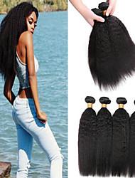 tanie -6 pakietów Włosy brazylijskie Kinky Straight Włosy naturalne Nieprzetworzone włosy naturalne Nakrycie głowy Fale w naturalnym kolorze Pielęgnacja włosów 8-28 in Kolor naturalny Ludzkie włosy wyplata