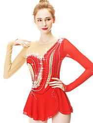Недорогие -Платье для фигурного катания Жен. / Девочки Катание на коньках Платья Красный Спандекс Эластичность Одежда для фигурного катания Мода Длинный рукав