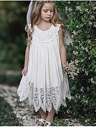 abordables -Enfants Fille Doux Quotidien Couleur Pleine Dentelle Sans Manches Maxi Polyester Robe Blanc