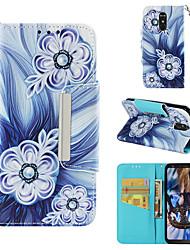 Недорогие -Кейс для Назначение LG LG Stylo 4 Кошелек / Бумажник для карт / Флип Чехол Цветы Твердый Кожа PU