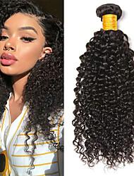 Недорогие -6 Связок Kinky Curly Натуральные волосы Необработанные натуральные волосы Головные уборы Человека ткет Волосы Уход за волосами 8-28 дюймовый Естественный цвет Ткет человеческих волос / 8A