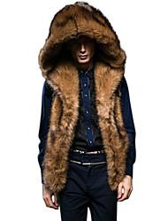 Недорогие -Муж. Повседневные Зима Обычная Пальто с мехом, Однотонный Без рукавов Искусственный мех Коричневый XL / XXL / XXXL