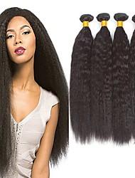Недорогие -4 Связки Вытянутые Не подвергавшиеся окрашиванию человеческие волосы Remy Человека ткет Волосы Пучок волос One Pack Solution 8-28 дюймовый Естественный цвет Ткет человеческих волос / Без запаха