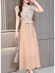 Недорогие -платье для женщин миди с V-образным вырезом с v-образным вырезом розовый белый синий M L XL XXL