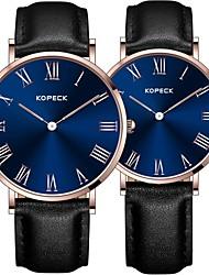 Недорогие -Kopeck Для пары Наручные часы электронные часы Японский Японский кварц Натуральная кожа Черный / Коричневый / Шоколадный 30 m Защита от влаги Повседневные часы Аналоговый Мода Цветной -