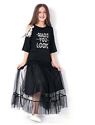 お買い得  -子供 女の子 ストリートファッション 日常 レタード メッシュ 半袖 マキシ ドレス ブラック