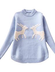 お買い得  -子供 女の子 ストリートファッション 日常 プリント 長袖 レギュラー ポリエステル セーター&カーデガン ブルー