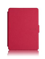 Недорогие -Кейс для Назначение Kindle / Amazon Задняя панель / Полноразмерные чехлы / Ударопрочный чехол Чехол Однотонный Твердый Кожа PU для
