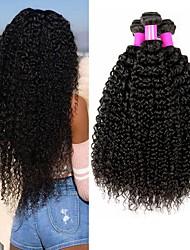 Недорогие -4 Связки Бразильские волосы Кудрявый Kinky Curly Не подвергавшиеся окрашиванию Головные уборы Человека ткет Волосы Пучок волос 8-28 дюймовый Естественный цвет Ткет человеческих волос