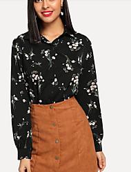 Недорогие -женская блузка - воротник рубашки с цветочным принтом
