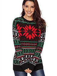 Недорогие -Жен. Повседневные Классический Цветочный принт Длинный рукав Обычный Пуловер Черный L / XL / XXL