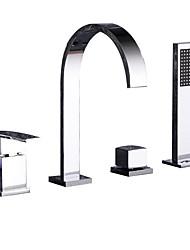 Недорогие -Смеситель для ванны - Современный Хром Разбросанная Керамический клапан / Две ручки Четыре отверстия