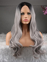 Недорогие -человеческие волосы Remy 360 Лобовой Парик Ассиметричная стрижка Kardashian стиль Бразильские волосы Естественные кудри Темно-серый Парик 130% Плотность волос Натуральный Мода Удобный 100