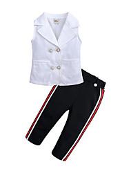 お買い得  -子供 女の子 活発的 / ストリートファッション 日常 / お出かけ ストライプ ノースリーブ レギュラー レーヨン アンサンブル ホワイト