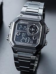 Недорогие -Муж. Спортивные часы электронные часы Цифровой Нержавеющая сталь Черный / Серебристый металл / Золотистый Календарь Секундомер Фосфоресцирующий Цифровой На каждый день -