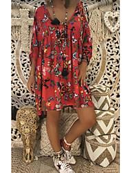 Недорогие -Жен. Большие размеры Элегантный стиль Свободный силуэт Прямое Платье - Цветочный принт Глубокий V-образный вырез Выше колена / Сексуальные платья