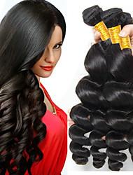 Недорогие -6 Связок Бразильские волосы Свободные волны человеческие волосы Remy Натуральные волосы Головные уборы Человека ткет Волосы Сувениры для чаепития 8-28 дюймовый Естественный цвет