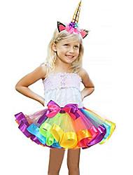 abordables -Carnaval Costume Fille Enfant Adulte Halloween Halloween Carnaval Mascarade Fête / Célébration Tulle Polyester Tenue Bleu / Rose / Bleu / Violet Arc-en-ciel