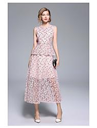 رخيصةأون -A-الخط جوهرة طول الركبة دانتيل فستان مع كشاكش بواسطة