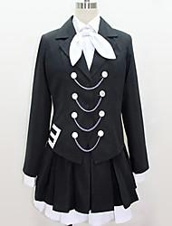 baratos -Inspirado por Vocaloid Fantasias Anime Fantasias de Cosplay Ternos de Cosplay Preto e Branco / Contemporâneo Peitilho / Blusa / Saia Para Homens / Mulheres