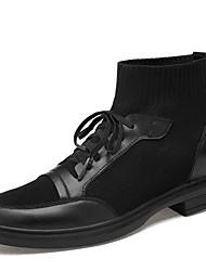abordables -Homme Chaussures en cuir Cuir Automne hiver Décontracté / British Bottes Augmenter la hauteur Bottine / Demi Botte Noir