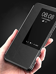 Недорогие -Кейс для Назначение Huawei Huawei Mate 20 pro / Huawei Mate 20 с окошком / Флип / Авто Режим сна / Пробуждение Чехол Однотонный Твердый Кожа PU