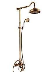 Недорогие -Смеситель для душа - Античный Старая латунь Душевая система Керамический клапан Bath Shower Mixer Taps / Латунь / Две ручки три отверстия