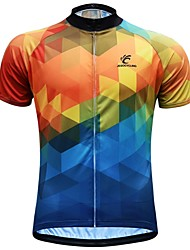 Недорогие -JESOCYCLING Муж. С короткими рукавами Велокофты - Голубой + Желтый Велоспорт Джерси Верхняя часть Быстровысыхающий Виды спорта 100% полиэстер Горные велосипеды Шоссейные велосипеды Одежда
