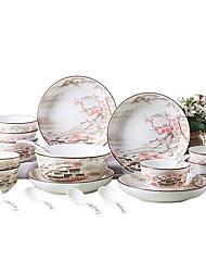 abordables -22 pièces Services de Vaisselle Plats de Service Ensemble en porcelaine Vaisselle Porcelaine Céramique Mignon Créatif Résistant à la chaleur