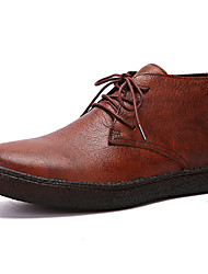 hesapli -Erkek Ayakkabı Nappa Leather Sonbahar Kış Klasik / Günlük Çizmeler Yarı-Diz Boyu Çizmeler Günlük / Ofis ve Kariyer için Siyah / Kahverengi