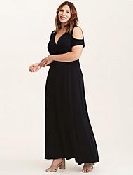 Недорогие -Жен. Элегантный стиль Оболочка Платье - Однотонный Глубокий V-образный вырез Макси / Сексуальные платья
