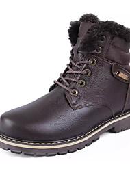 hesapli -Erkek Ayakkabı PU Kış Çizmeler Yarı-Diz Boyu Çizmeler Günlük / Dış mekan için Siyah / Kahverengi