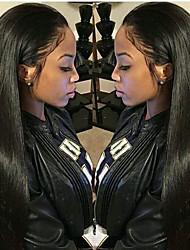 Недорогие -Не подвергавшиеся окрашиванию Натуральные волосы Лента спереди Парик Kardashian стиль Перуанские волосы Шелковисто-прямые Парик 130% 150% Плотность волос / Необработанные / с детскими волосами