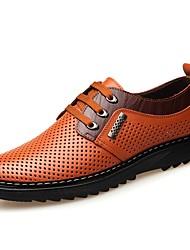 baratos -Homens Sapatos Confortáveis Pele Primavera & Outono Oxfords Preto / Amarelo / Marron